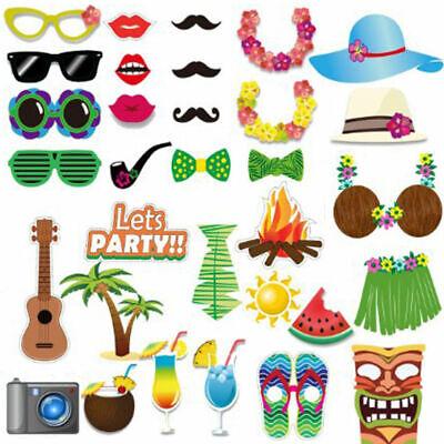 32pcs Hawaiian Luau Tiki Photo Booth Selfie Props Tropical Beach Party Holiday