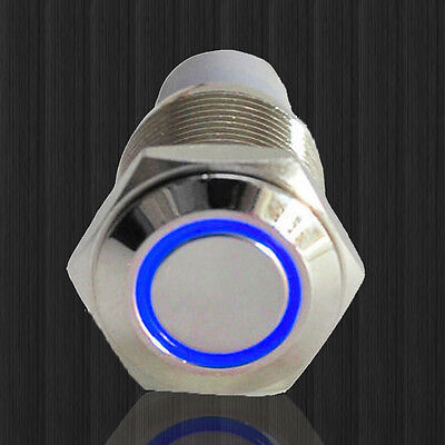 16mm 12v Blue Led Angel Eye Push Button Metal On-off Switch For Car Motor
