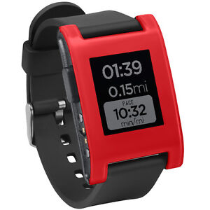Pebble Smartwatch (Cherry Red, TPU Rubber Band)