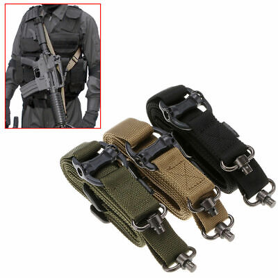 Adjustable Tactical QD 1 or 2 Point Sling Bungee Straps Snap Hook Quick Release