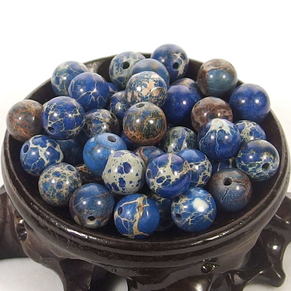 Bulk Gemstones I natural spacer stone beads 4mm 6mm 8mm 10mm 12mm jewelry design blue sea sediment jasper