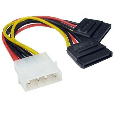 Molex to 2 SATA Dual Power Y Splitter Adaptor Cable Lead 2 Way 4 Pin -15 Pin