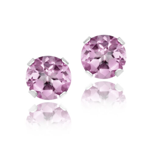1ct Light Pink CZ .925 Silver Stud Earrings, 5mm