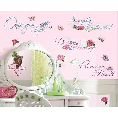 DISNEY PRINCESS Quotes Wall Stickers NEW Princesses Glitter Decals Room Decor