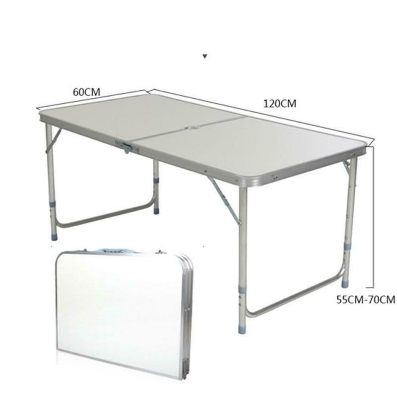 120CN 4FT Folding Camping Table Aluminium Picnic Adjustable Party BBQ Outdoor