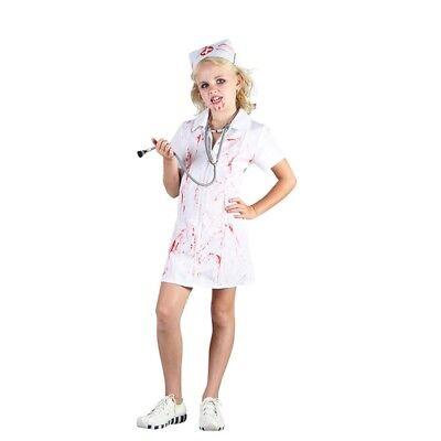 Medium Girls Mad Nurse Costume - Fancy Dress Halloween 3 Child Sizes - Mad Nurse Halloween Costume