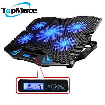 "TopMate Laptop Kühler Cooler Ständer | 5 x LED Lüfter |10"" - 15.6"" ZOLL Schwarz"