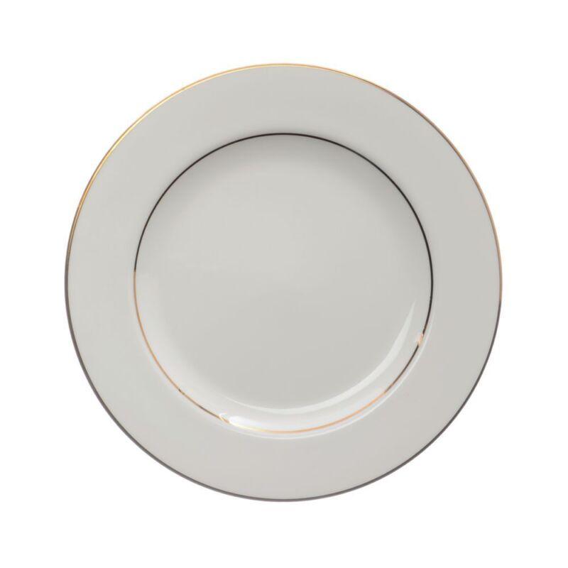 "Homer Laughlin Diplomat Gold Rim Warm White China Dinner Plate - 10"" Dia"
