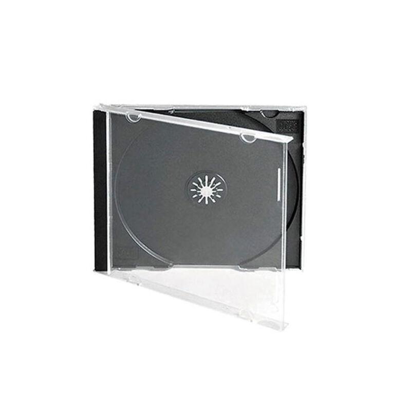 100 CD DVD 10.4mm Standard Single Jewel Case Box Black Removable Tray