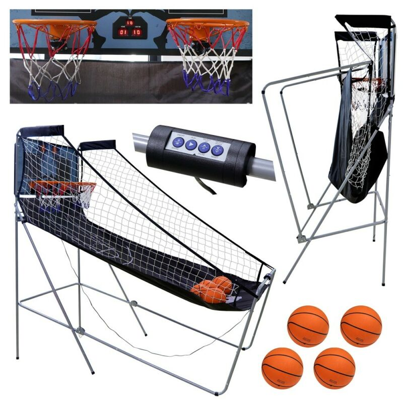 Indoor Basketball Arcade Game Double Electronic Hoops shot 2 Player W/ 4 Balls