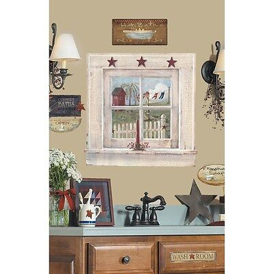 - OUTHOUSE WINDOW & SIGNS Giant Wall Stickers Decals Country Bathroom Mural Decor