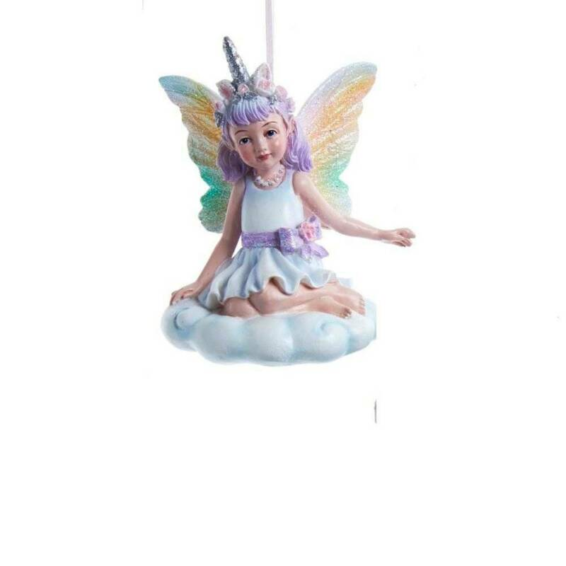 Kurt Adler Christmas Ornament Pillow Unicorn Fairy Rainbow Wings Sitting E0378