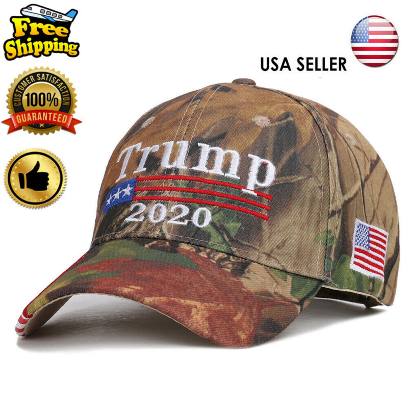 Trump 2020 Hat Camouflage Embroidered Keep America Great Cap USA Flag MAGA w7
