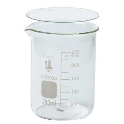 250ml Low Form Griffin Beaker W 70mm Watch Glass Karter Scientific Single