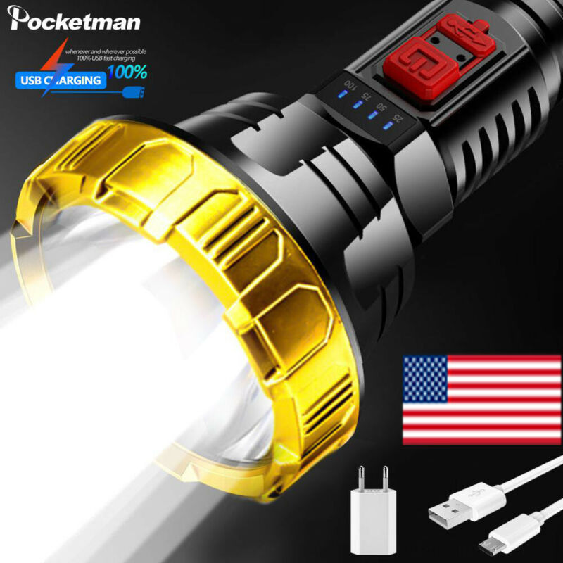 100000LM LED Searchlight Flashlight USB Rechargeable Torch Spotlight 3 Modes
