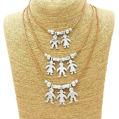 Silver Charms Cute Kids Pendant Necklace Family Mother Jewelry Maternal - Kids Charms