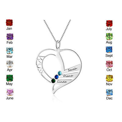 Personalised Names Custom Birthstone Necklace Family Mother Gifts Pendant Xmas
