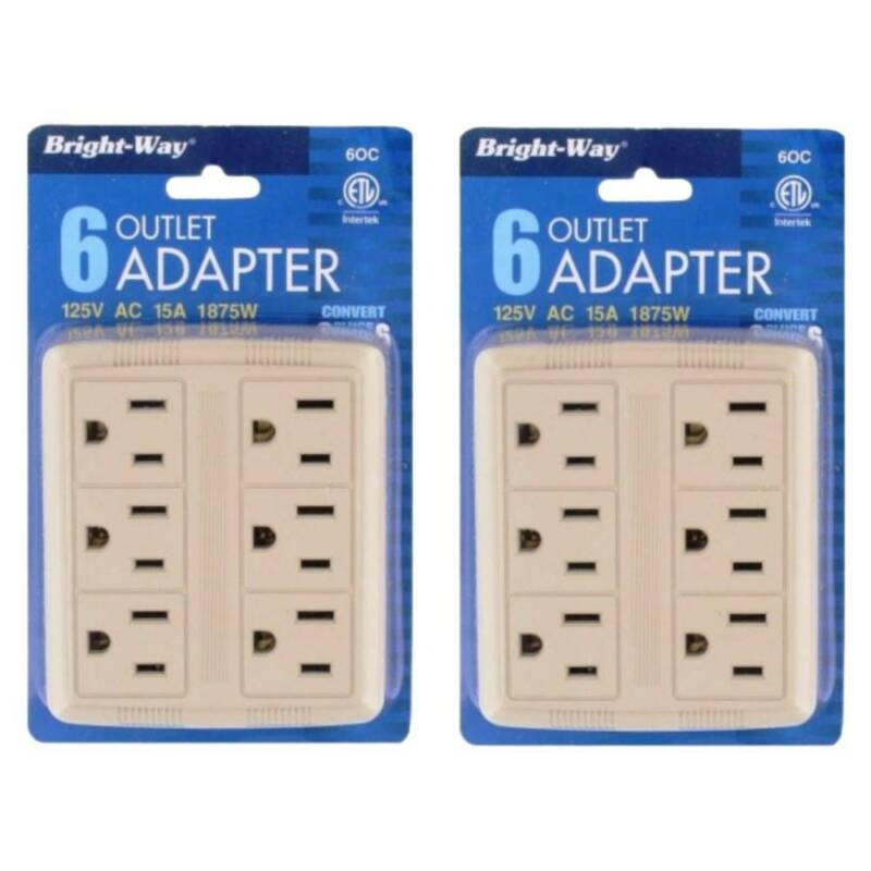 Outlet Adapter Wall Tap 6 Outlets Extension For Plugs 125V 1875W Powers, 2-Pack