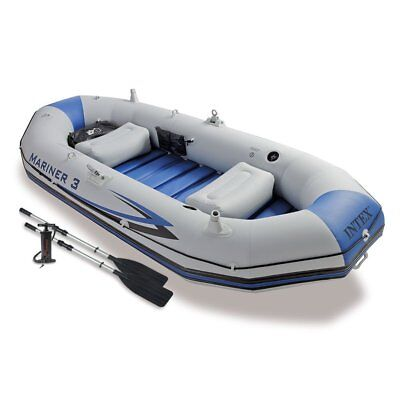 Intex Mariner 3-Person Inflatable River/Lake Dinghy Boat & Kayak Oars Set - NEW