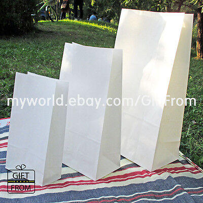 x12, 50,100 White Paper Gift Wedding Party Favor bags_Lunch candy buffet bag - White Lunch Bags