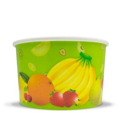 Fresh Fruit Ice Cream Paper Cups - 8 oz Disposable Birthday Party Cups