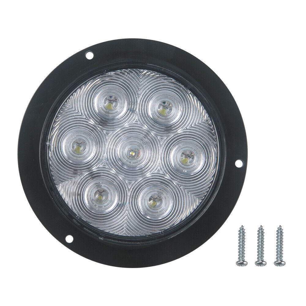 4 Inch White 7 Leds Round Stop Turn Tail Car Truck Light