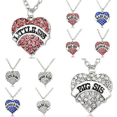 (Little Baby Sister Pendant Necklace Gifts Charm Party Girl Crystal Love Heart  )