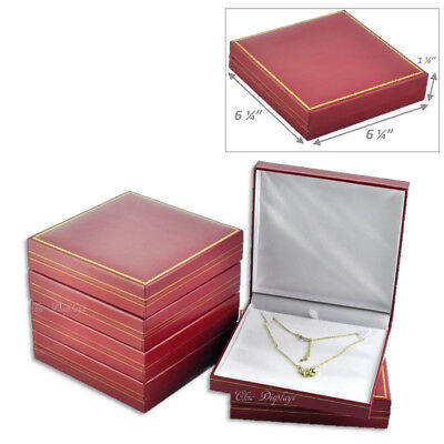 Lot Of 6 Classic Red Leatherette Necklace Gift Box Large Jewelry Box Deal