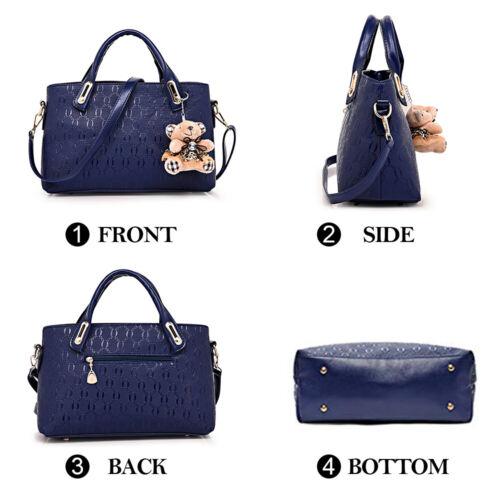 4pcs/set Women Ladies Leather Handbag Shoulder Tote Purse Satchel Messenger Bag