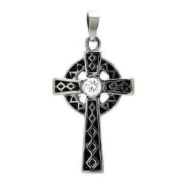 Stainless Steel Two Tone Celtic Cross CZ Stone Pendant, Free Bead Ball (Two Tone Celtic Pendant)