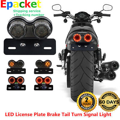 LED License Tail Turn Plate Brake Signal Light For Bobber Cafe Racer ATV Chopper