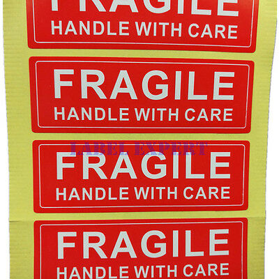 250pcs 1 X 3 Inch Fragile Handle With Care Label Sticker Red And White