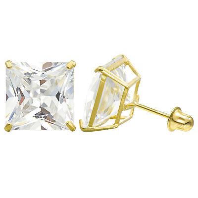 2MM-8MM Princess Clear CZ 14K Solid Yellow Gold  Stud Earrings Basket Screw Back