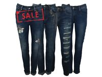 FREE DELIVERY AMAVISSE UK - NEW WOMEN FASHION ELASTIC TROUSERS RIPPED / SKINNY / GLITTERY JEANS