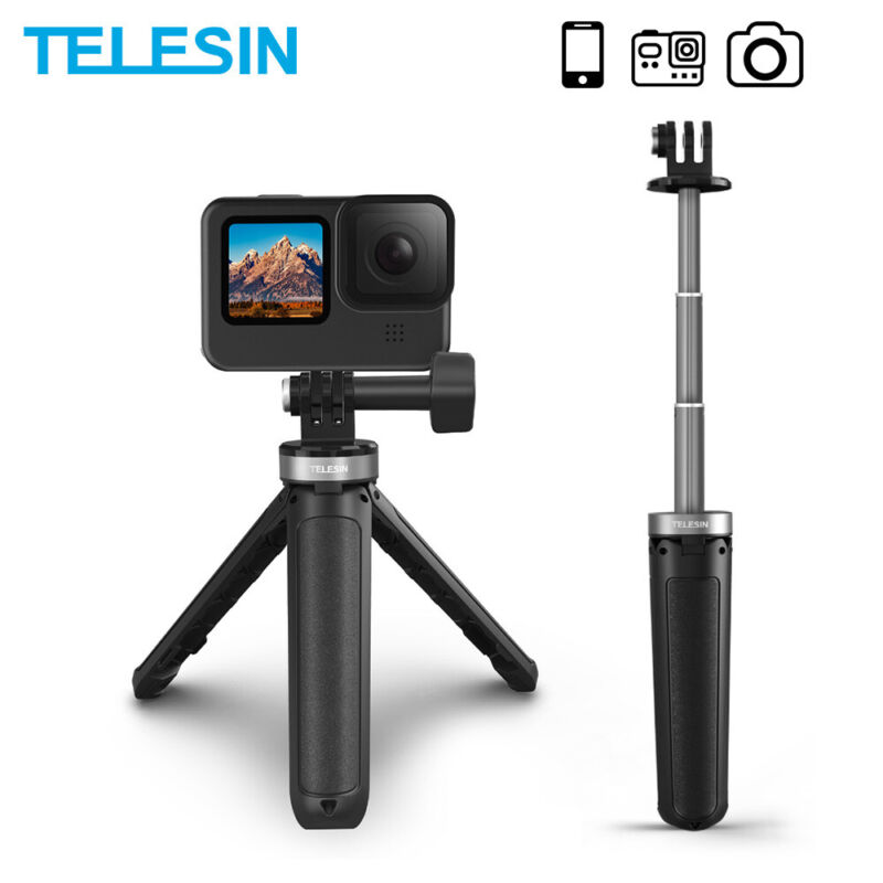 TELESIN Mini Desktop Extendable Selfie Stick Tripod For GoPro Max Hero 10 9 8