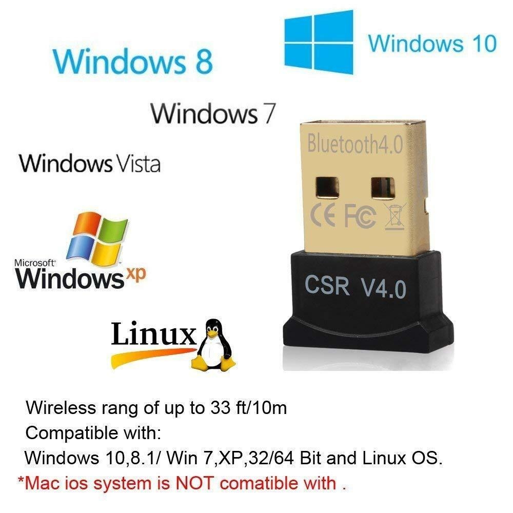 USB Bluetooth CSR4.0 3.0 Wireless Mini Adapter Dongle for PC Laptop WIN 7 8 10