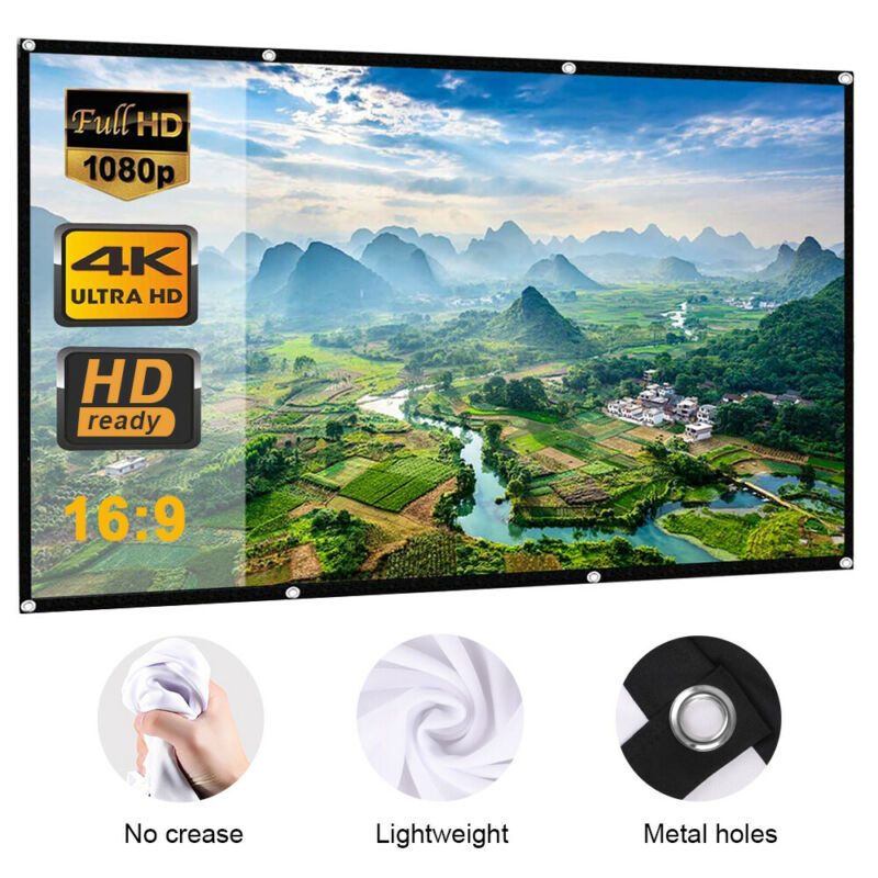 4K 150 inch 16x9 HD 3D TV Projector Screen Outdoor Movie Portable Home Threater