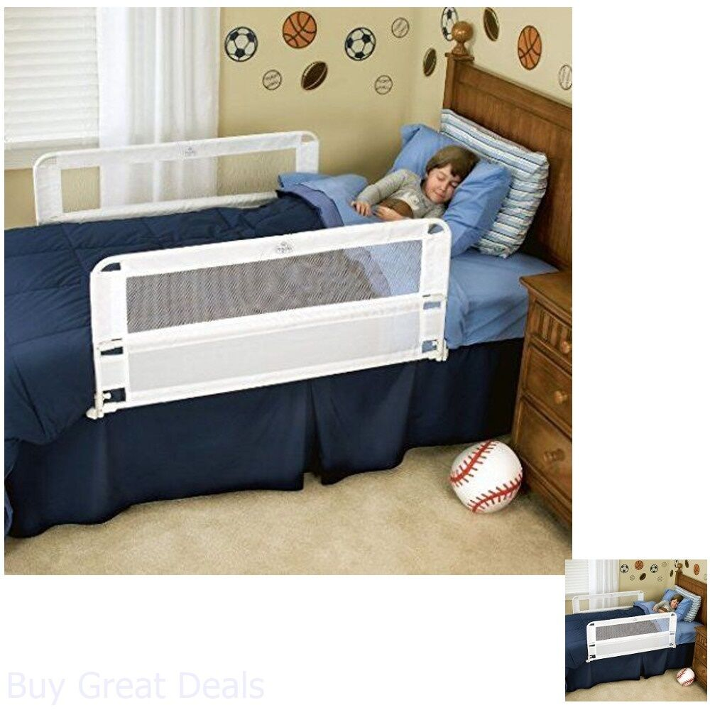 Bed Rail Double Sided White Safety Child Twin Full Queen Size Hide