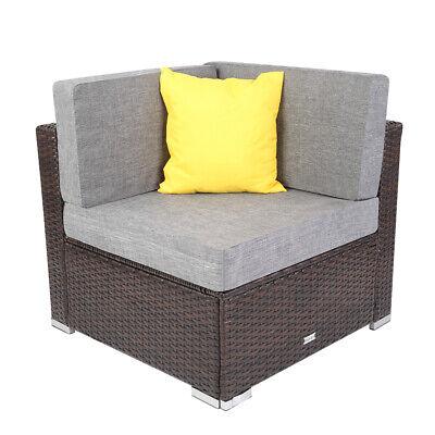 Garden Furniture - Outdoor Rattan Wicker Corner Sofa Couch Patio Garden Furniture w/ Cushion Brown
