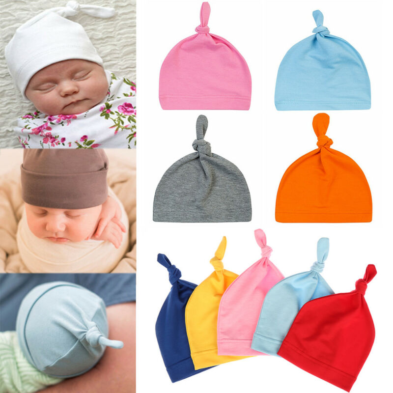Newborn Baby Knotted Beanie Hat Boys Girls Soft Cotton Cap Infant Toddle New