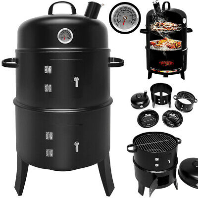 BBQ Grill Barbecue Charcoal Smoker 3 Layers Garden Camping Outdoor Cooking Heat