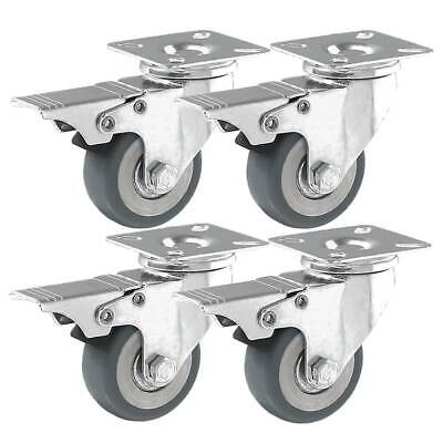 4 Pack 2 Caster Wheels Swivel Plate Casters On Grey Pu Wheels With Brake