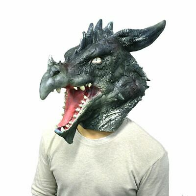 Horror Dragon Latex Mask Animal Full Head Halloween Costume Face Disguise Adult