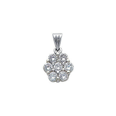 14k Solid White Gold 0.25 ct Cluster Flower Pendant Charm