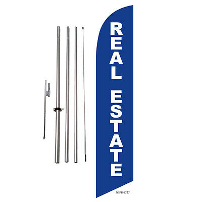 Real Estate Blue Feather Banner Swooper Flag Kit With Polespike