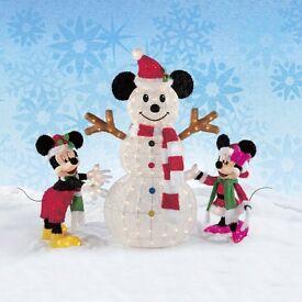 CHRISTMAS LIGHTS OUTDOOR DISNEY MICKEY,MINNIE AND SNOWMAN
