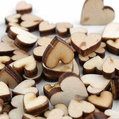 100pcs DIY Rustic Wood Wooden Love Heart Wedding Table Scatter Decoration Crafts - Heart Decor