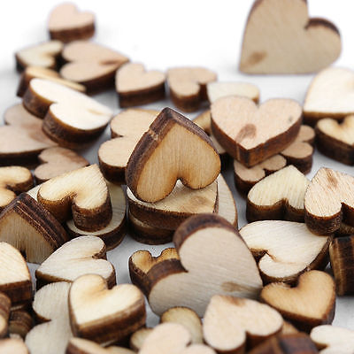 100pcs DIY Rustic Wood Wooden Love Heart Wedding Table Scatter Decoration Crafts Diy Wedding Table