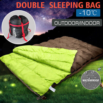 Double Outdoor Camping Sleeping Bag Hiking Thermal Winter  10 C 14  87  X 57