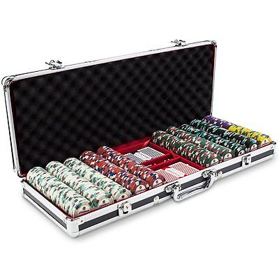 NEW 500 Showdown 13.5 Gram Clay Poker Chips Black Aluminum Case Set Pick Chips